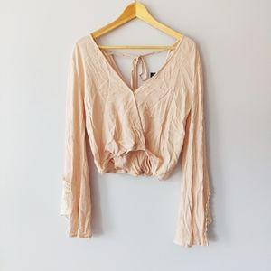 Forever 21 Pink/Cream Crop Top With Bell Sleeves